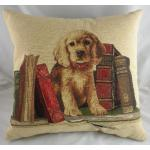 "18"" Retriever Bookends Puppy Dog Belgian Tapestry Cushion"